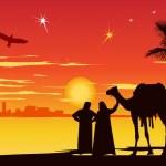 Travelers near palm-trees at sunrise — Stock Photo #9231768