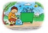 Bagging trash — Stock Photo