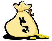 Monedas en la bolsa de oro — Foto de Stock