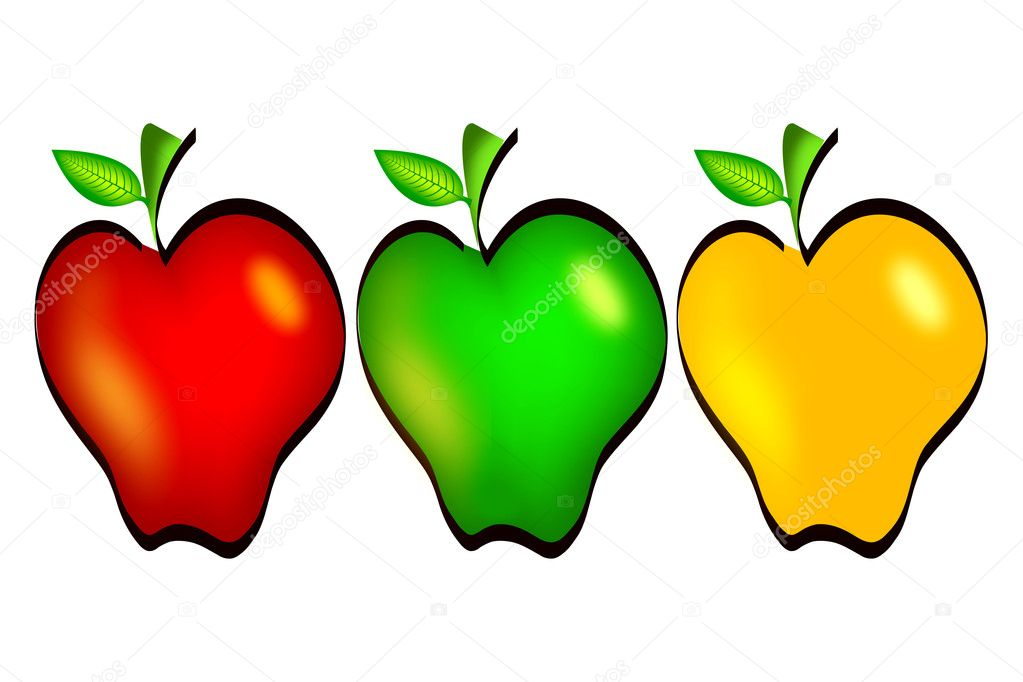 Illustration drawing of colourful apples isolated on white — Stock Photo #10106531