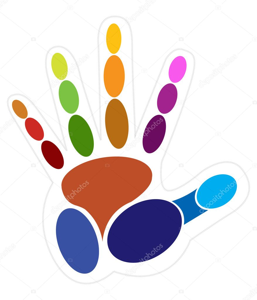 Illustration art of color hand with white background — Stock Vector #10112548