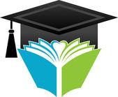 Book graduation cap — Stock Vector