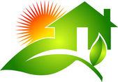 Leaf home logo — Stock Vector