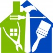 Vector de stock : Home tools logo