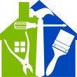 Stock vektor: Home tools logo