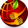Hands holding globe — Stock Vector