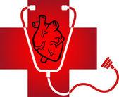 Logotipo de hospital del corazón — Vector de stock
