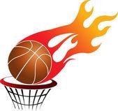 Flaming basketball — Stock Vector