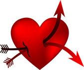 Heart and double arrow — Stock Vector