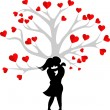 Heart couple tree - Stock Vector