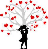 Heart couple tree — Stock Vector