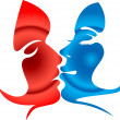 Man and woman kissing — Stock Vector