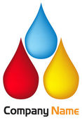 Water drop and blood drop and oil drops — Stok Vektör