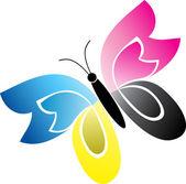 Cmyk butterfly — Stock Vector
