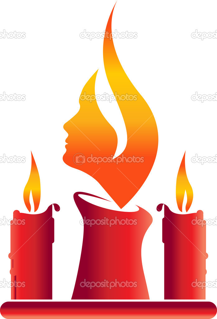 Illustration art of candle face with isolated background  Imagens vectoriais em stock #9859597