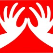 Wektor stockowy : Red heart shape hand