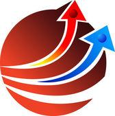 Globe arrow — Stock Vector