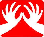 κόκκινη καρδιά σχήμα χέρι — Διανυσματικό Αρχείο