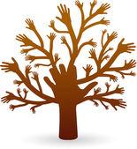 Eller ağaç — Stok Vektör