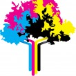 cmyk tree — Stock Vector
