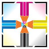 Cmyk pencil logo — Stock Vector