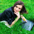 Young woman is working on laptop. — Stok fotoğraf
