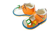 Pair of babies shoes from natural leather. — 图库照片