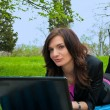 Young woman is working on laptop. — Foto Stock