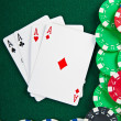 Chips and cards for the poker. — Stock Photo #10243359
