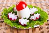 Lettuce, radish flowers and eggs in form mushroom. — Stock Photo