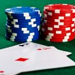 Chips and cards for the poker. — Stock Photo #10523749