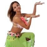 Beautiful dancer in tropical costume. — Stock Photo