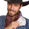 Young man with playing-cards. — Stock Photo
