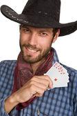 Jeune homme avec des cartes à jouer. — Photo