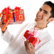 Glamour man with present — Stock Photo