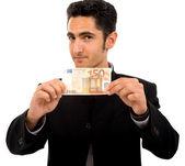 Homme d'affaires prospère, avec des billets de banque d'euro — Photo