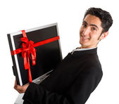 Successful businessman buy monitor. — Stock Photo