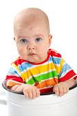 Baby sitting in the big saucepan. — Stock Photo