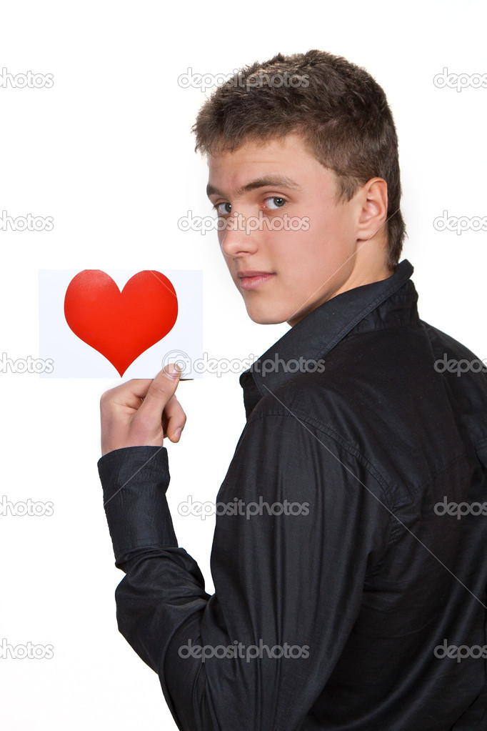 Portrait of young man with valentine on white background — Stock Photo #8961018