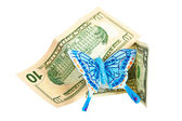American dollars with butterfly. — Stock Photo