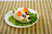 Lettuce and cheese with egg snack. — Stock Photo