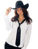 Beautiful young woman in hat. — Stock Photo