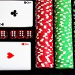 Set of chips and cards for the poker. — Stock Photo