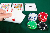Chip and cards for the poker. — Stock Photo
