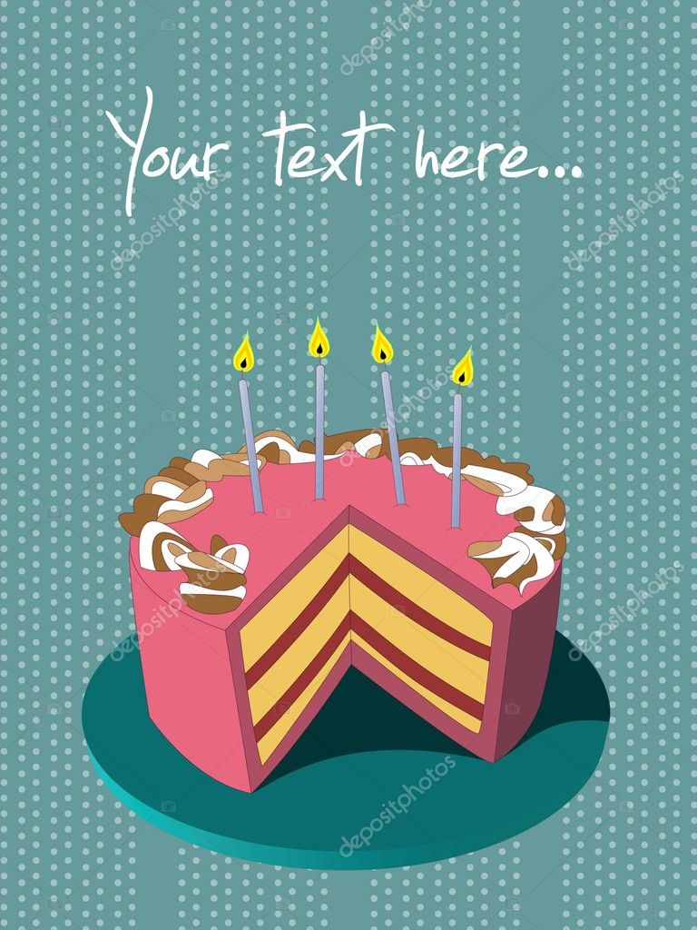 A nice Birthday card with cake on it — Stock Vector #8755188