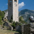 Ancient tower with clock in Stari Bar Montenegro — Stock Photo