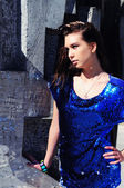 Brunette portrait, stunning woman in mini dress — Stock Photo