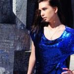 Brunette portrait, stunning woman in mini dress — Stock Photo #8555852