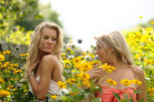 Sexy Blonde Girls In Yellow Flowers — Stock Photo