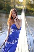 Slender Woman On Suspension Bridge — Stock Photo